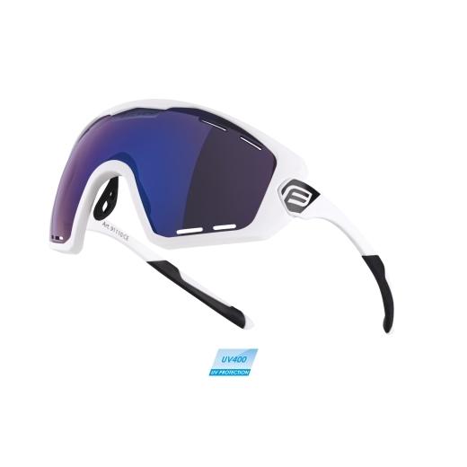 brýle FORCE OMBRO PLUS bílé mat., modrá laser skla