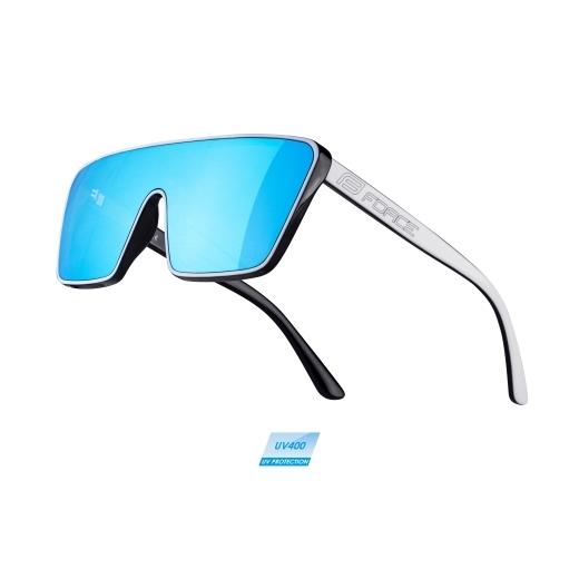 brýle FORCE SCOPE, černo-bílé, modrá zrc. skla