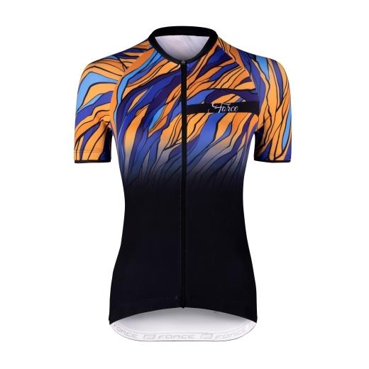 dres F LIFE LADY kr. rukáv, črn-modro-oranžový