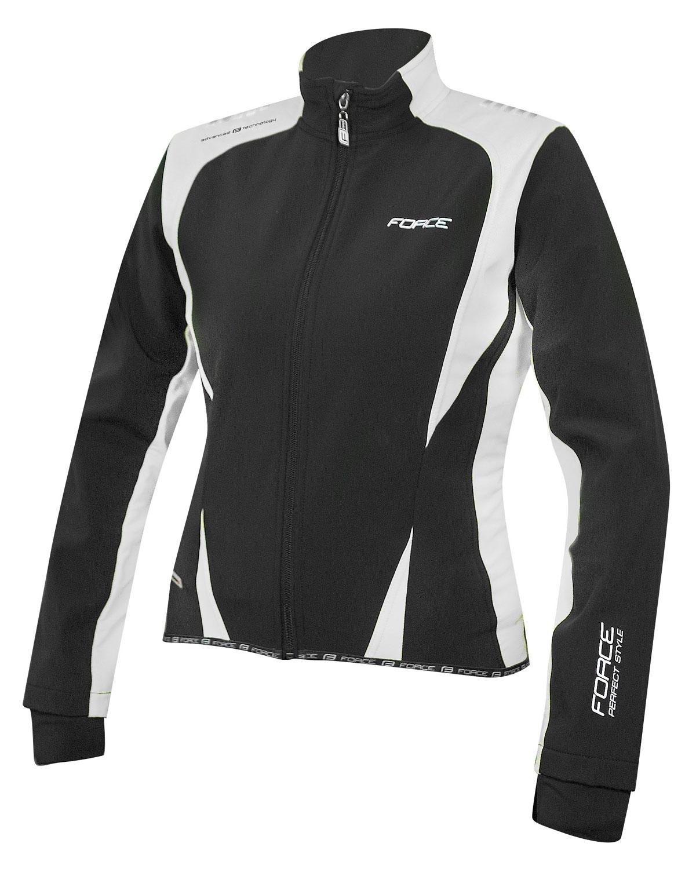 bunda FORCE X71 LADY softshell, černo-bílá XL