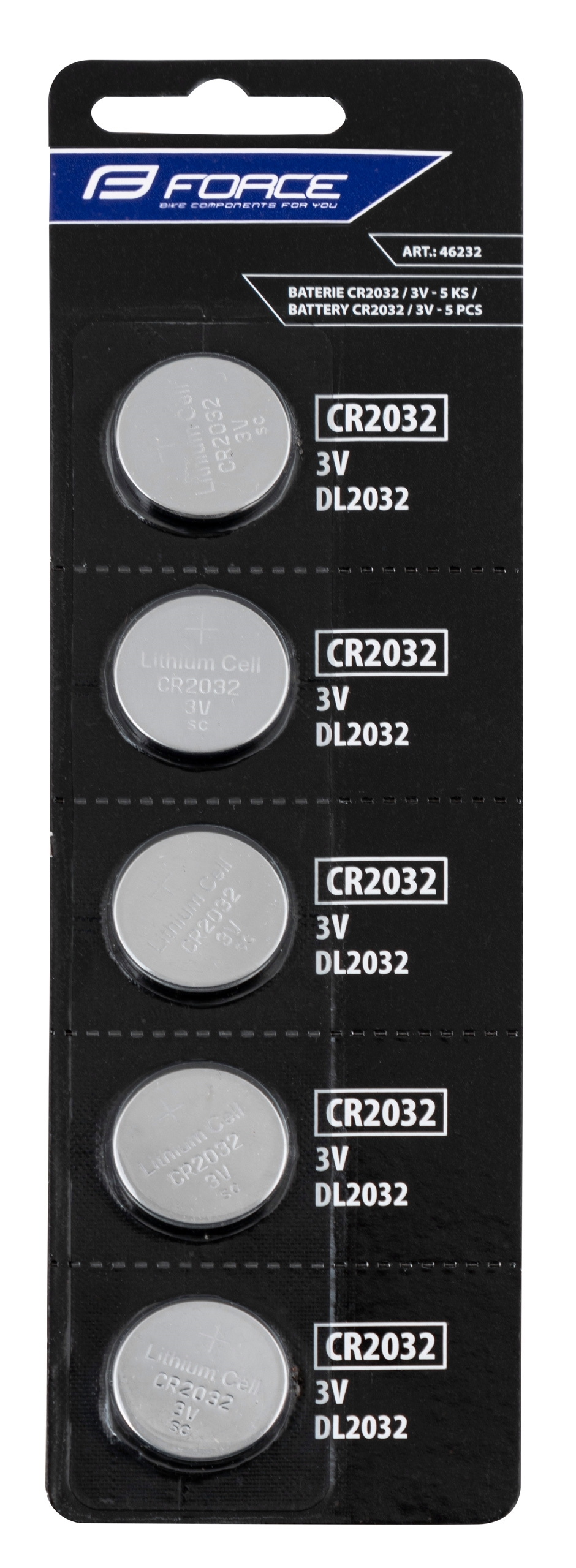 baterie FORCE mincové CR2032 / 3V 1 x 5 ks
