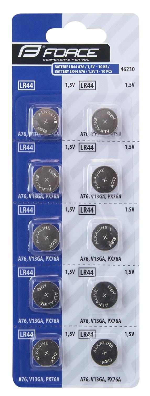 baterie FORCE mincové LR44 A76 / 1,5V 1 x 10 ks