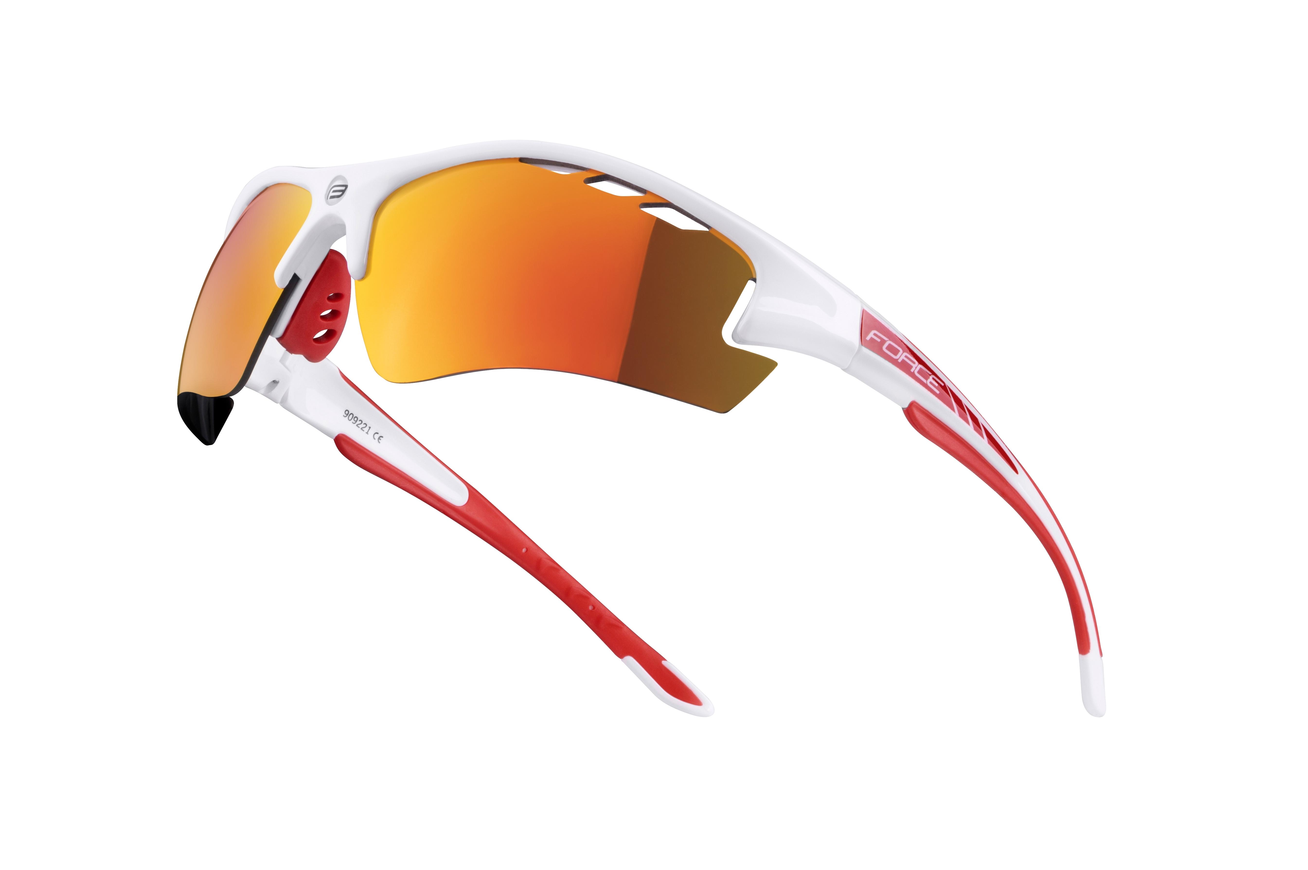 brýle F RIDE PRO bílé diop.klip,červená laser skla