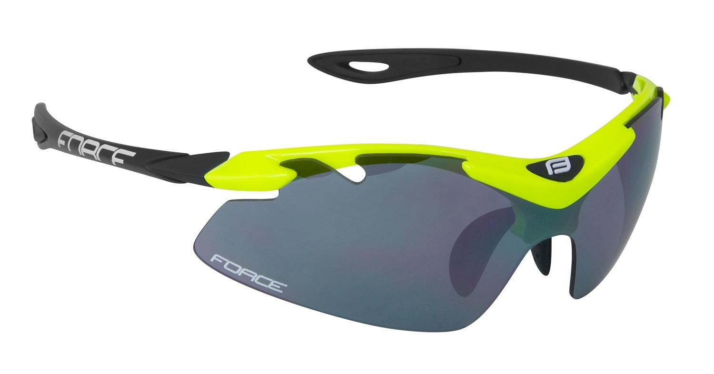 brýle FORCE DUKE fluo-černé, černá laser skla