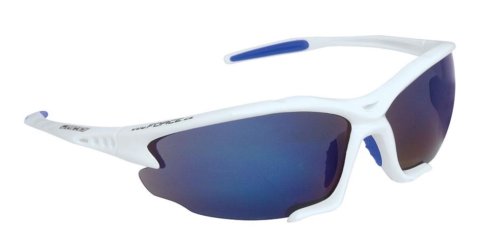 brýle FORCE LIGHT bílé, modrá laser skla