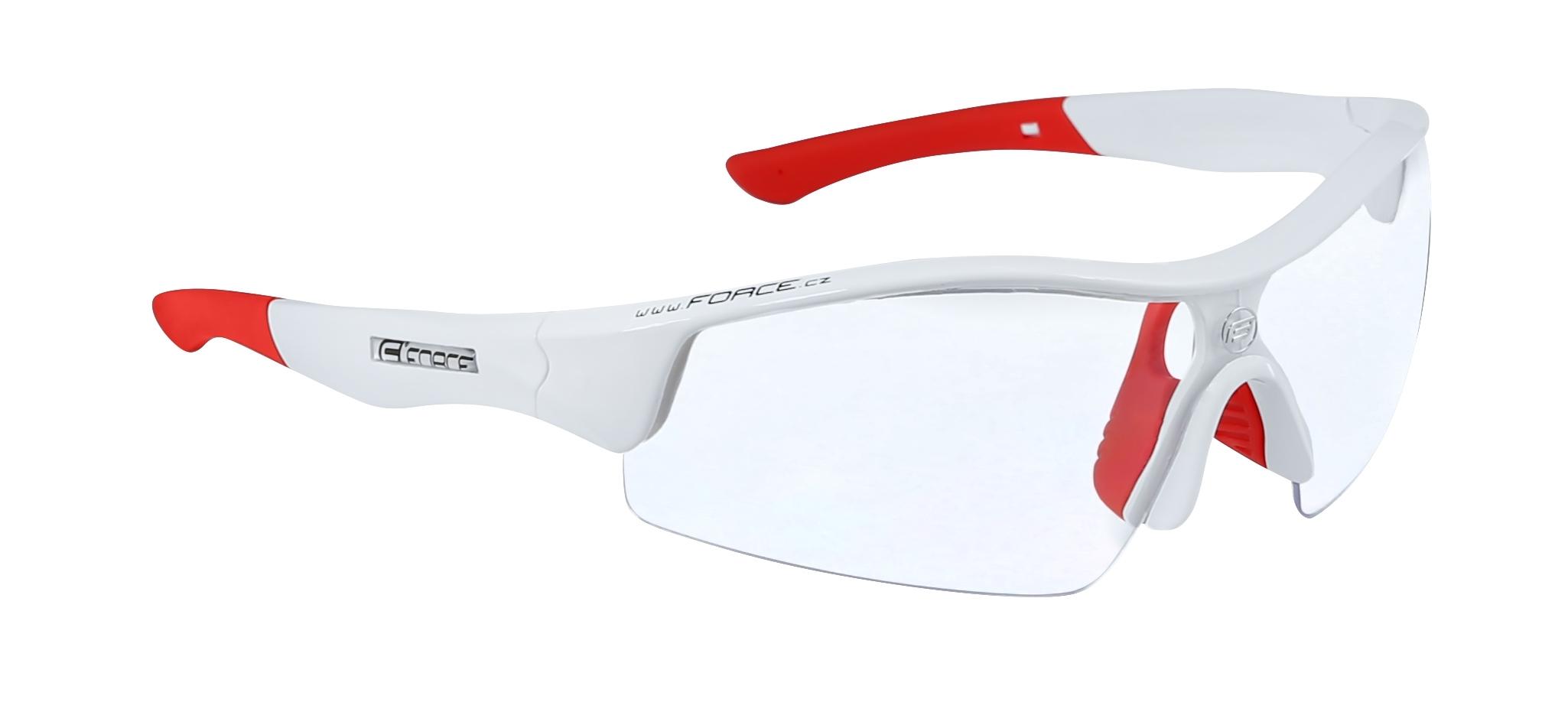 brýle FORCE RACE bílé, červená skla - AKCE