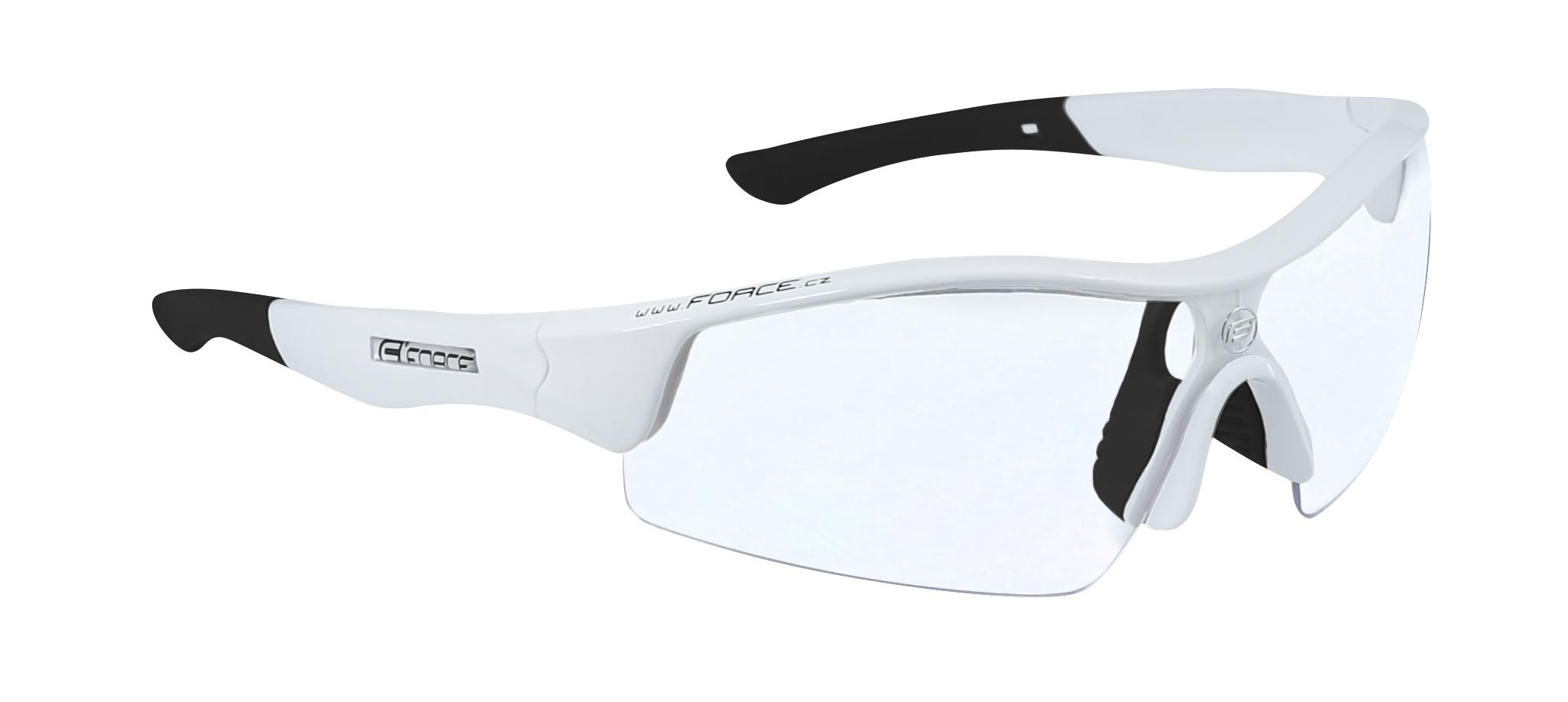 brýle FORCE RACE bílé, čirá skla - AKCE