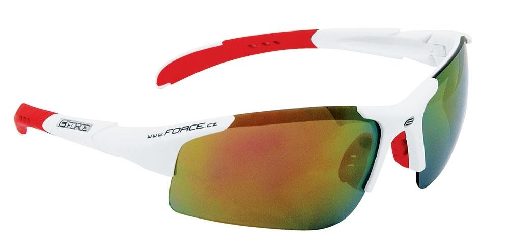 brýle FORCE SPORT bílé, červená skla - AKCE