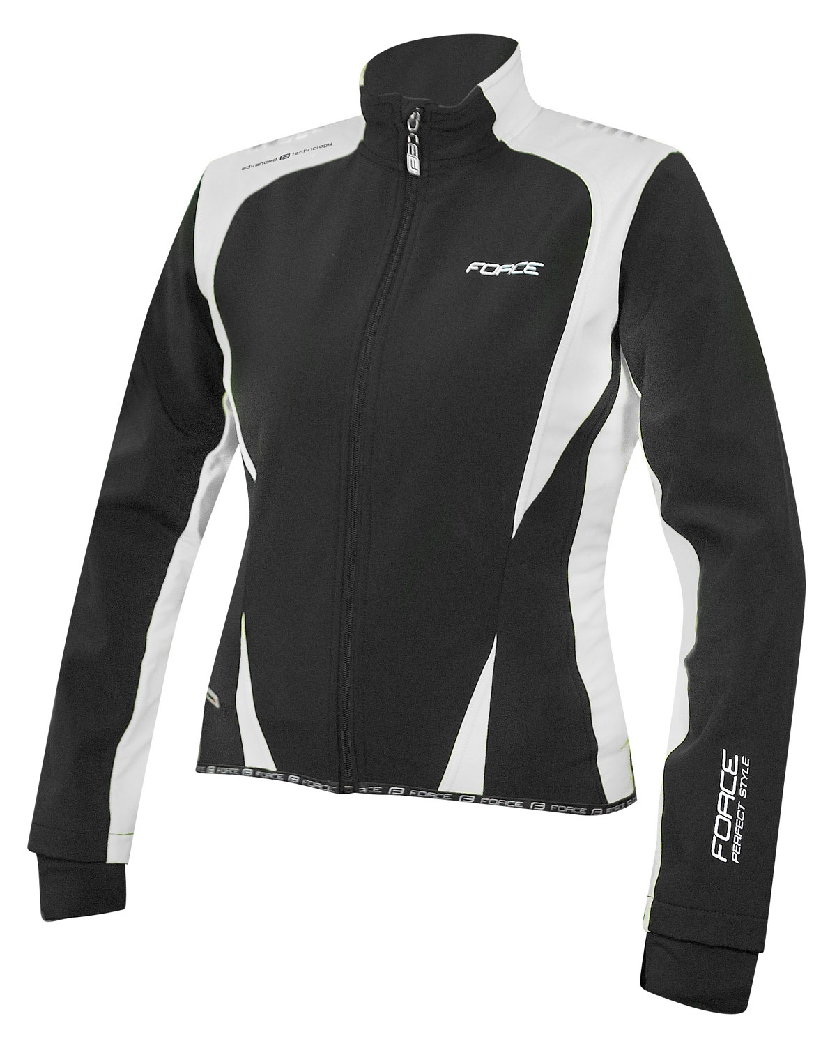 bunda FORCE X71 LADY softshell, černo-bílá XL
