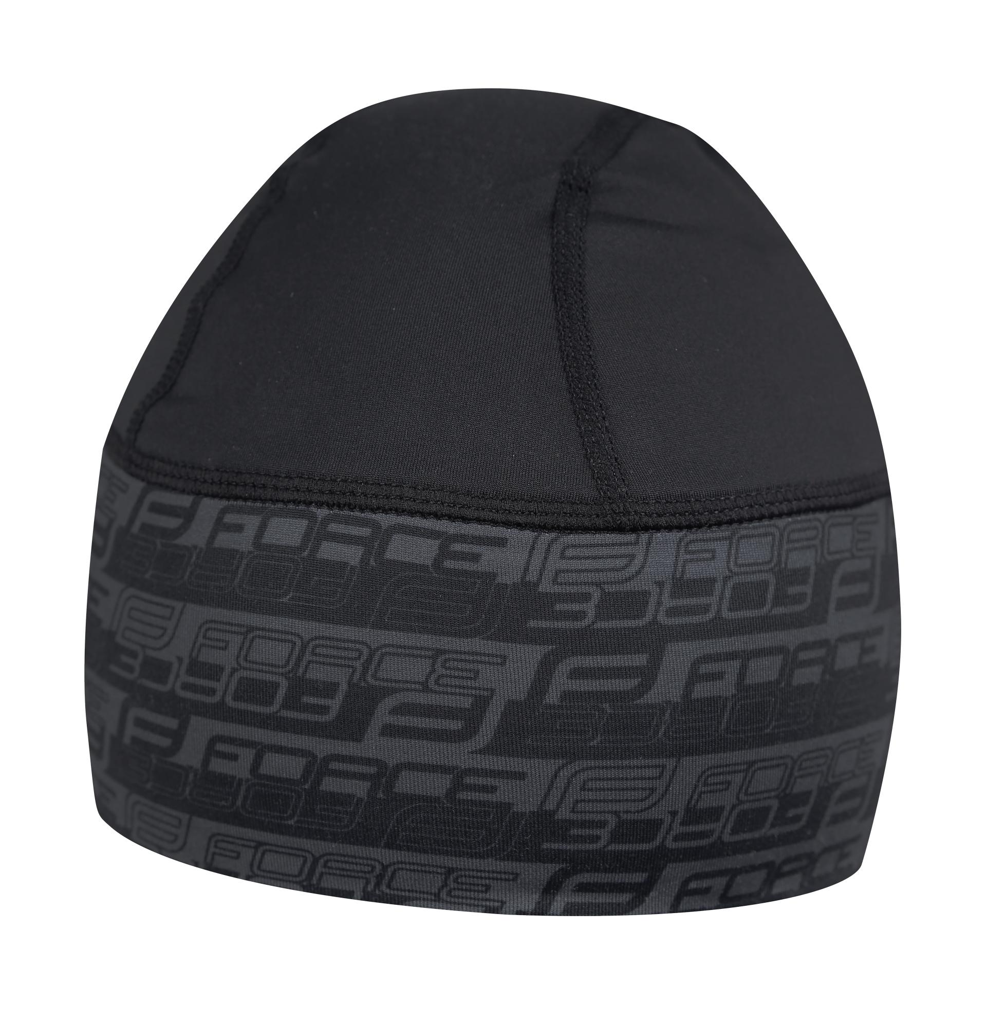 čepice pod přilbu FORCE zateplená lycra černá L-XL