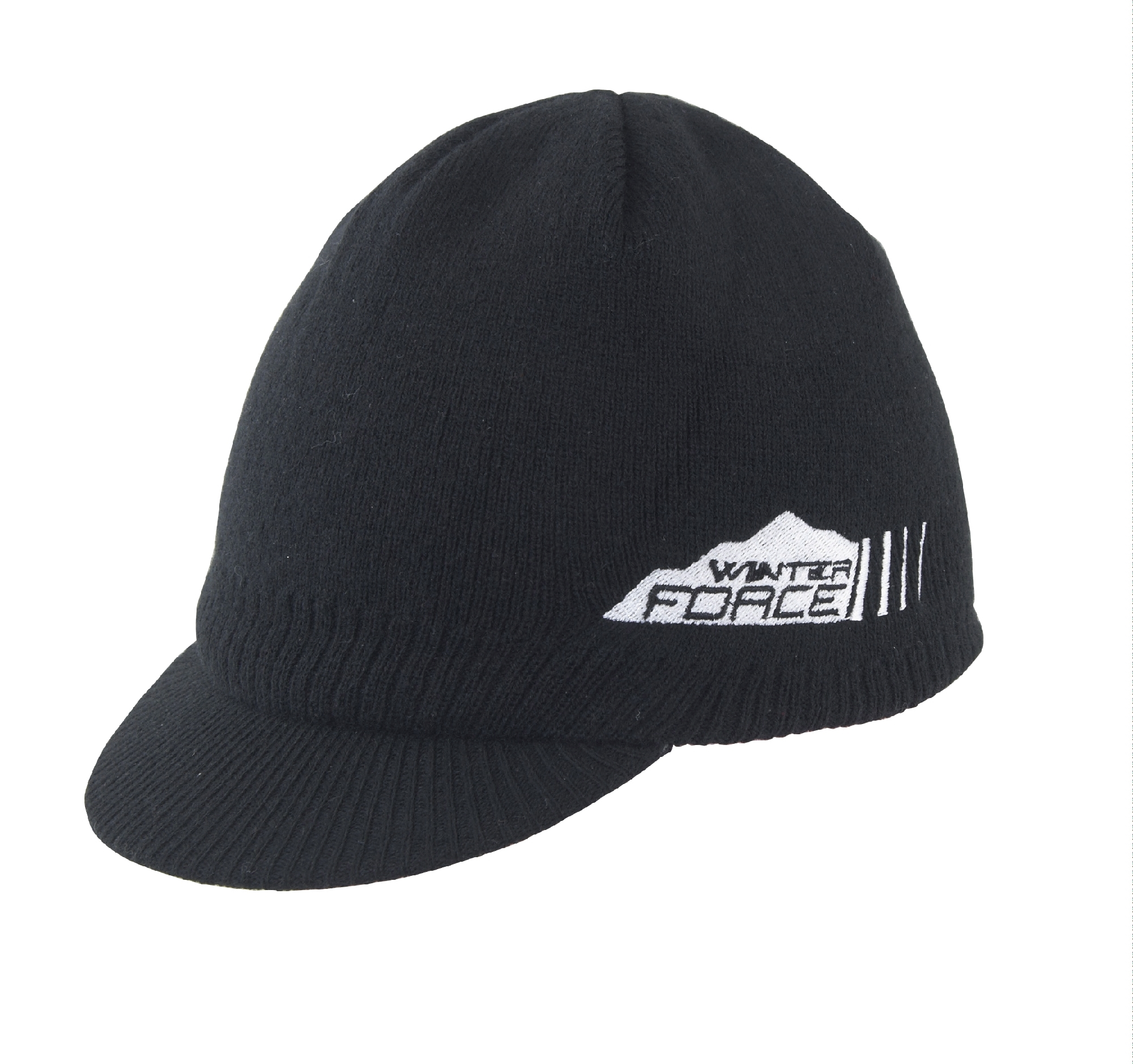 čepice zimní FORCE WINTER s kšiltem, pletená černá