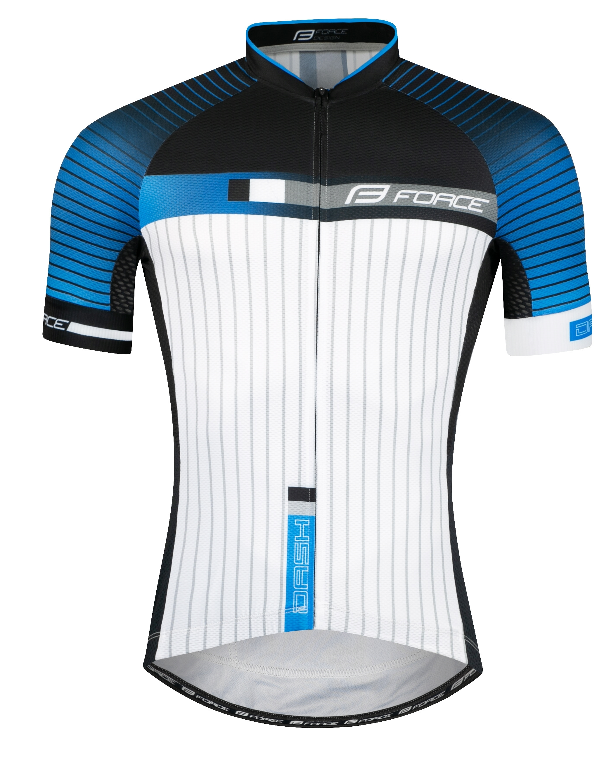 dres FORCE DASH krátký rukáv,modro-černo-bílý XXL