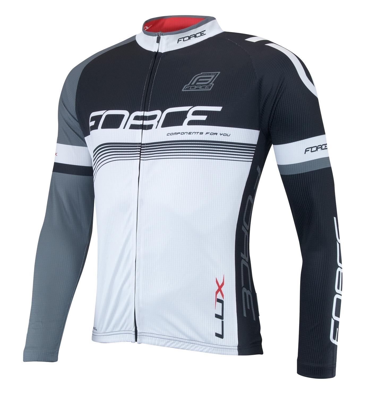 dres FORCE LUX dlouhý rukáv černo-bílý XL