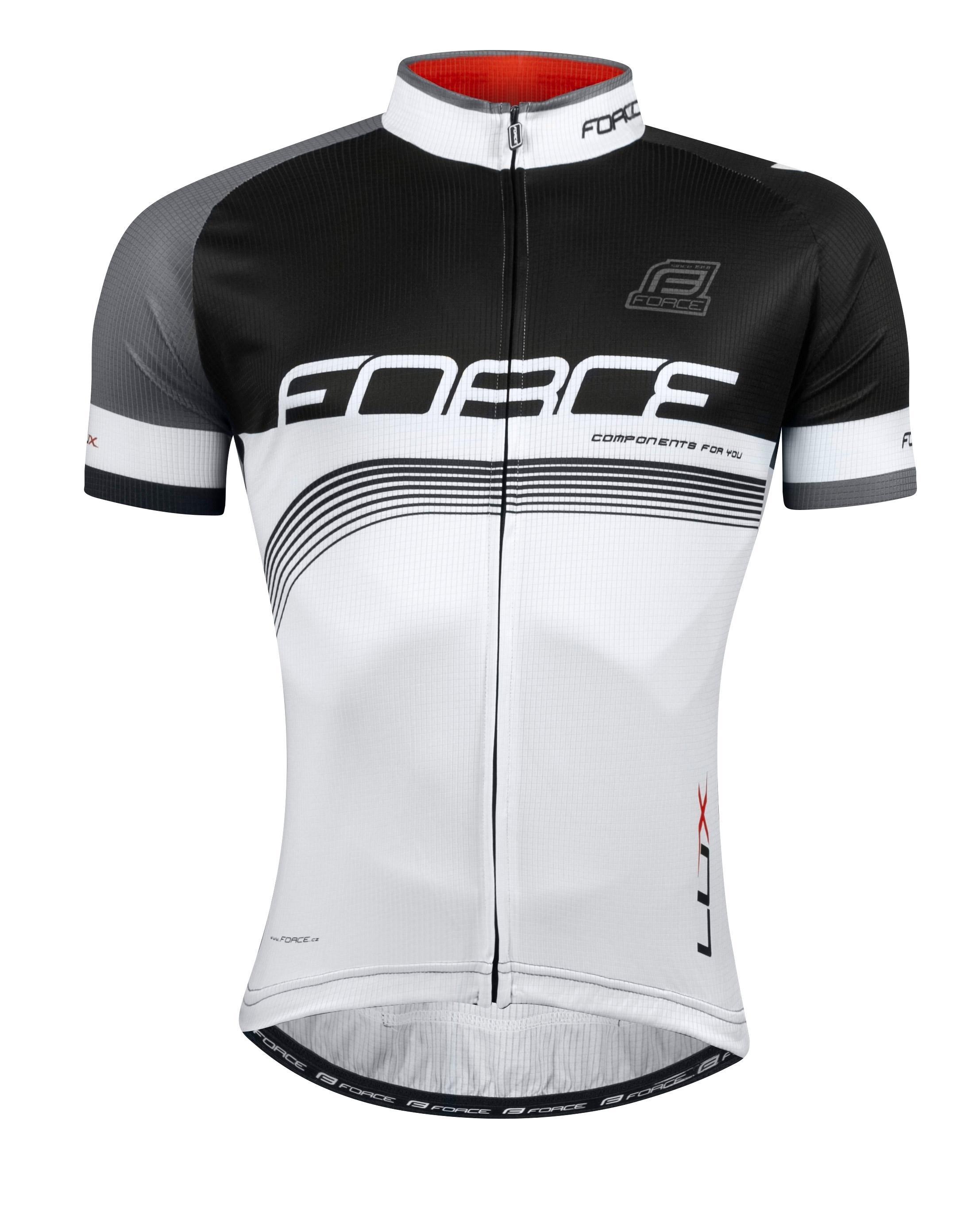 dres FORCE LUX krátký rukáv černo-bílý M
