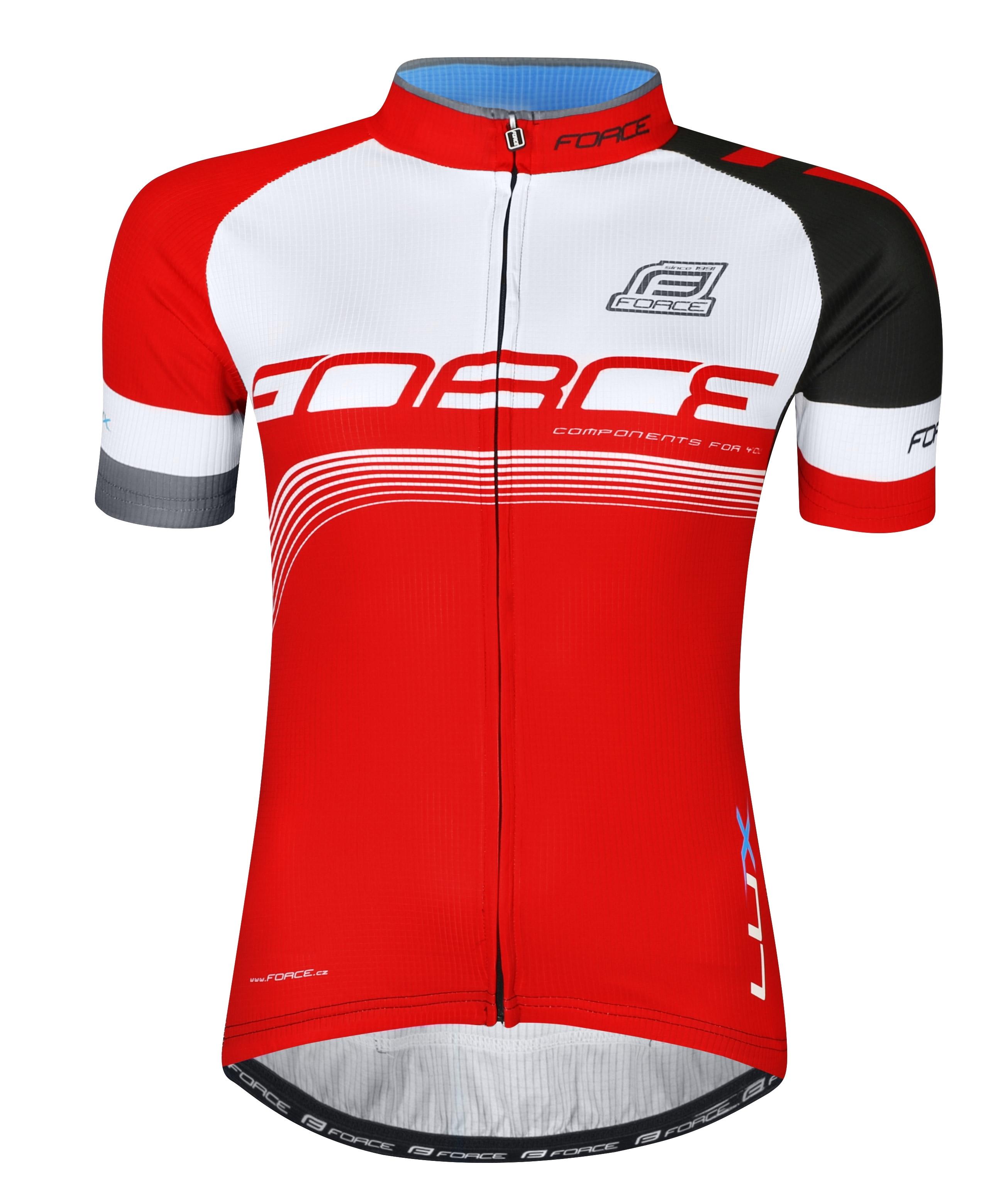 dres FORCE LUX krátký rukáv,červeno-černo-bílý M