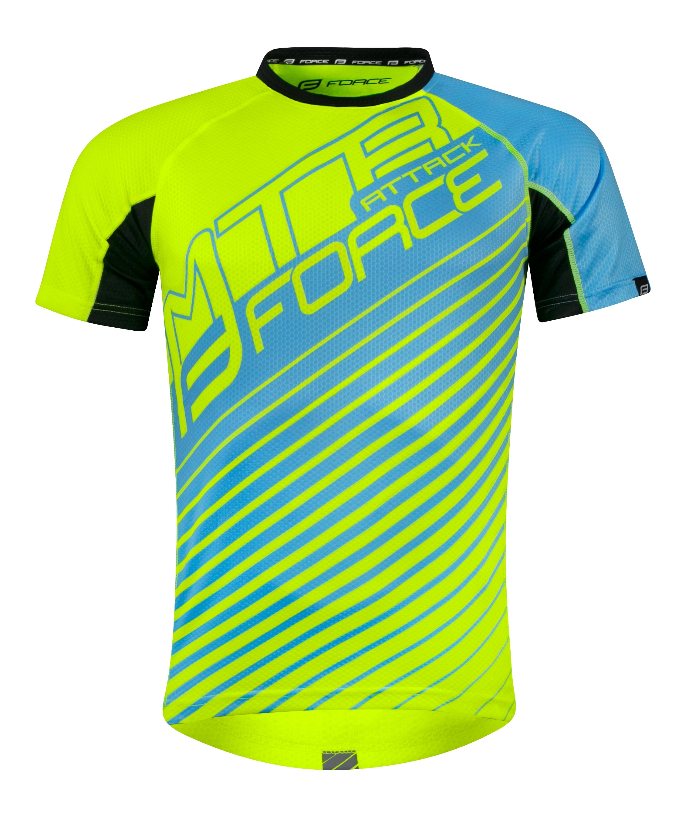dres FORCE MTB ATTACK, fluo modrý L