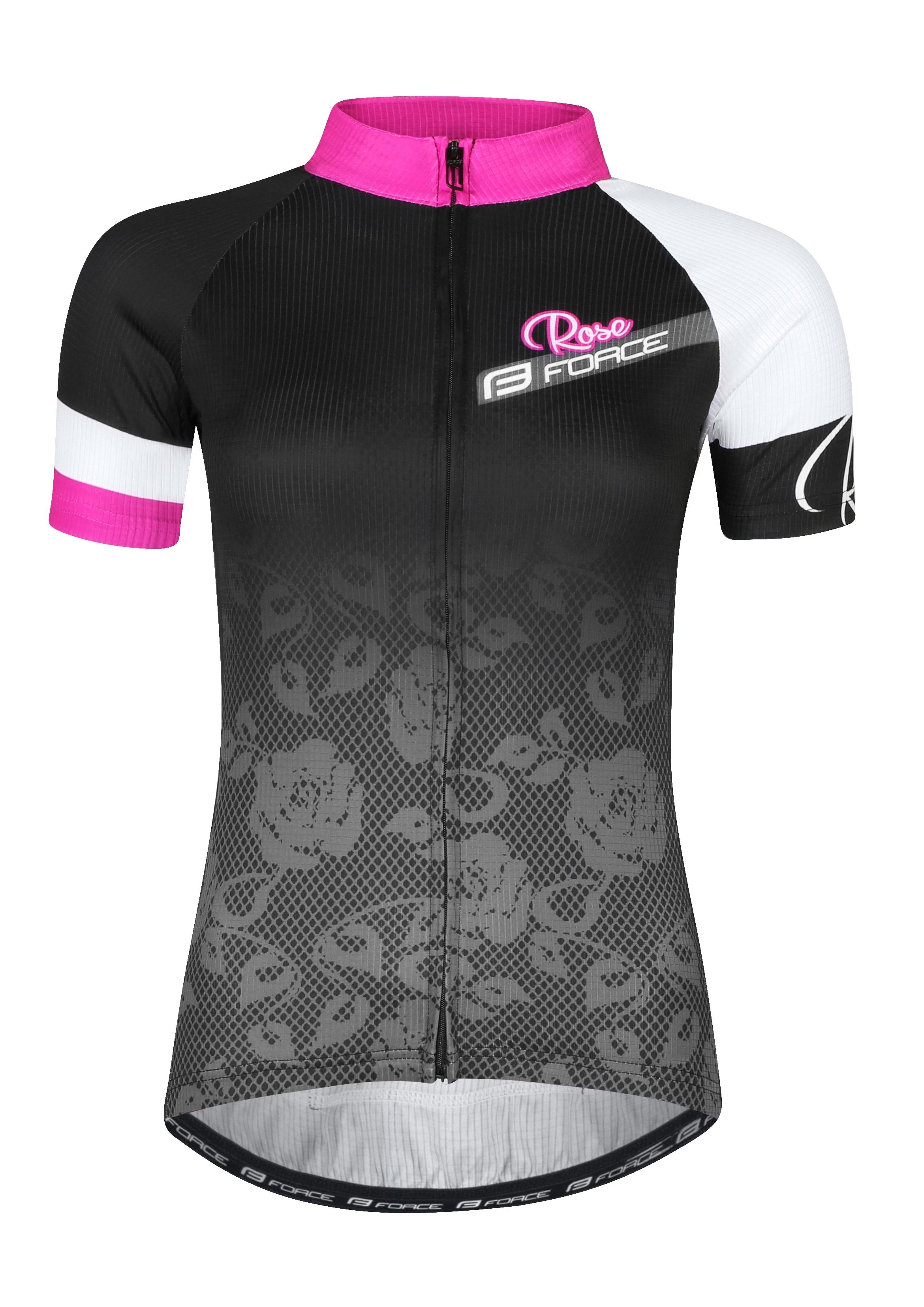 dres FORCE ROSE dámský kr. rukáv, černo-růžový XL