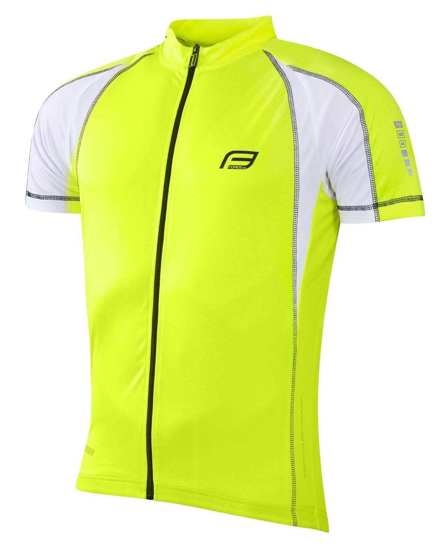 dres FORCE T10 krátký rukáv, fluo-bílý XL