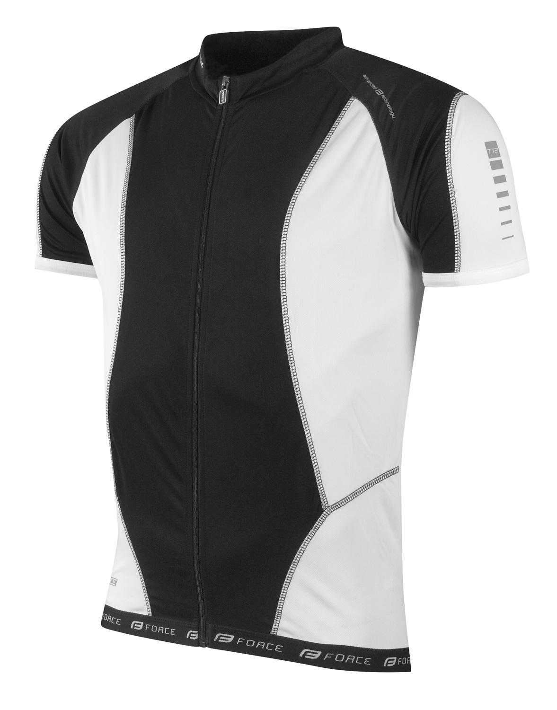 dres FORCE T12 krátký rukáv černo-bílý L