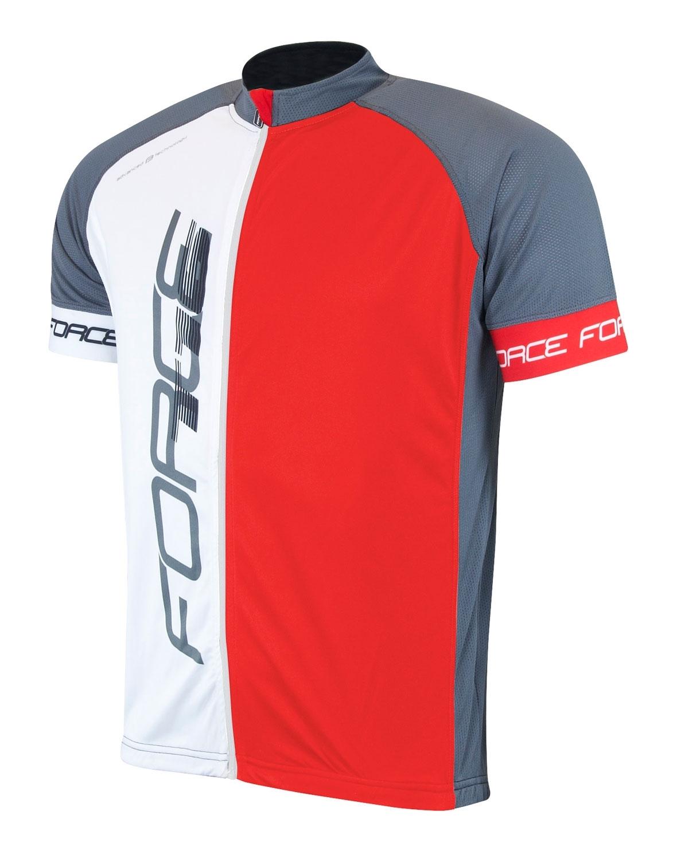 dres FORCE T16 krátký rukáv,čern-šedo-červený XXXL