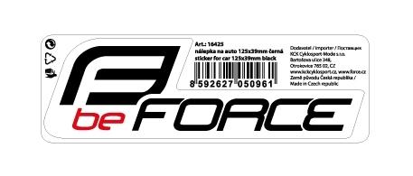 nálepka FORCE na auto 125x39mm černá