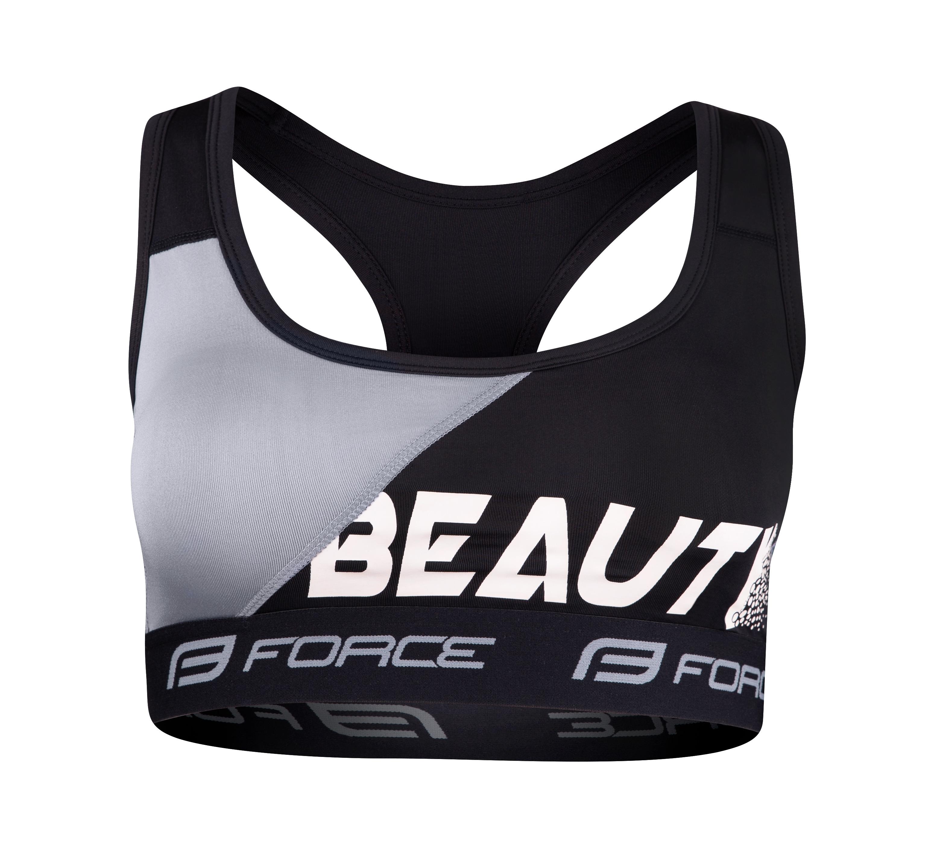podprsenka sportovní FORCE BEAUTY, černá-šedá XL