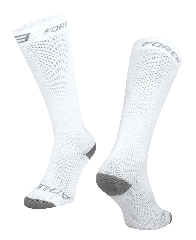 ponožky FORCE ATHLETIC KOMPRESNÍ, bílé L-XL