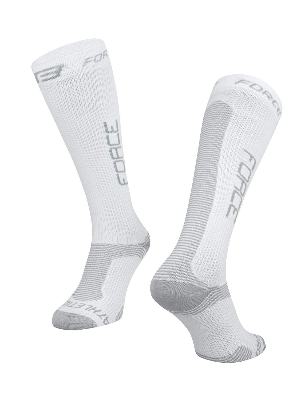 ponožky FORCE ATHLETIC PRO KOMPRES, bílo-šedé S-M