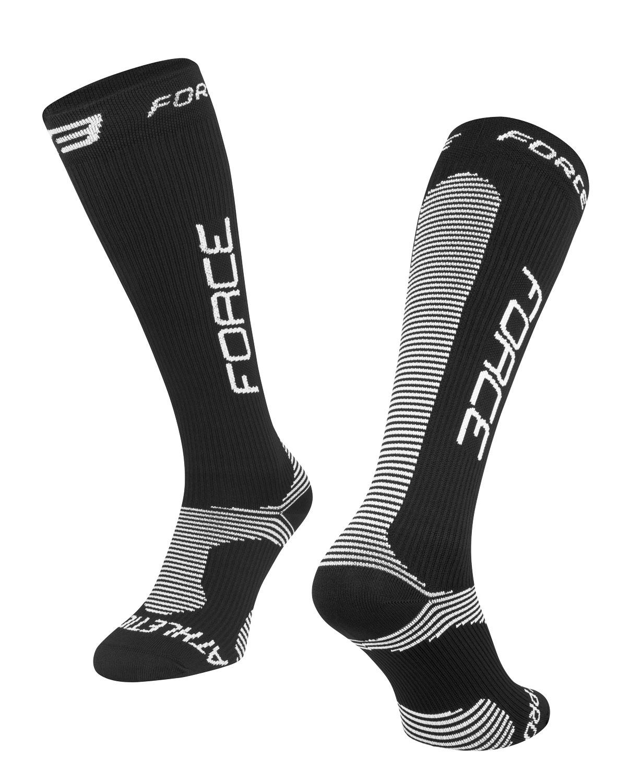 ponožky FORCE ATHLETIC PRO KOMPRES,černo-bílé L-XL