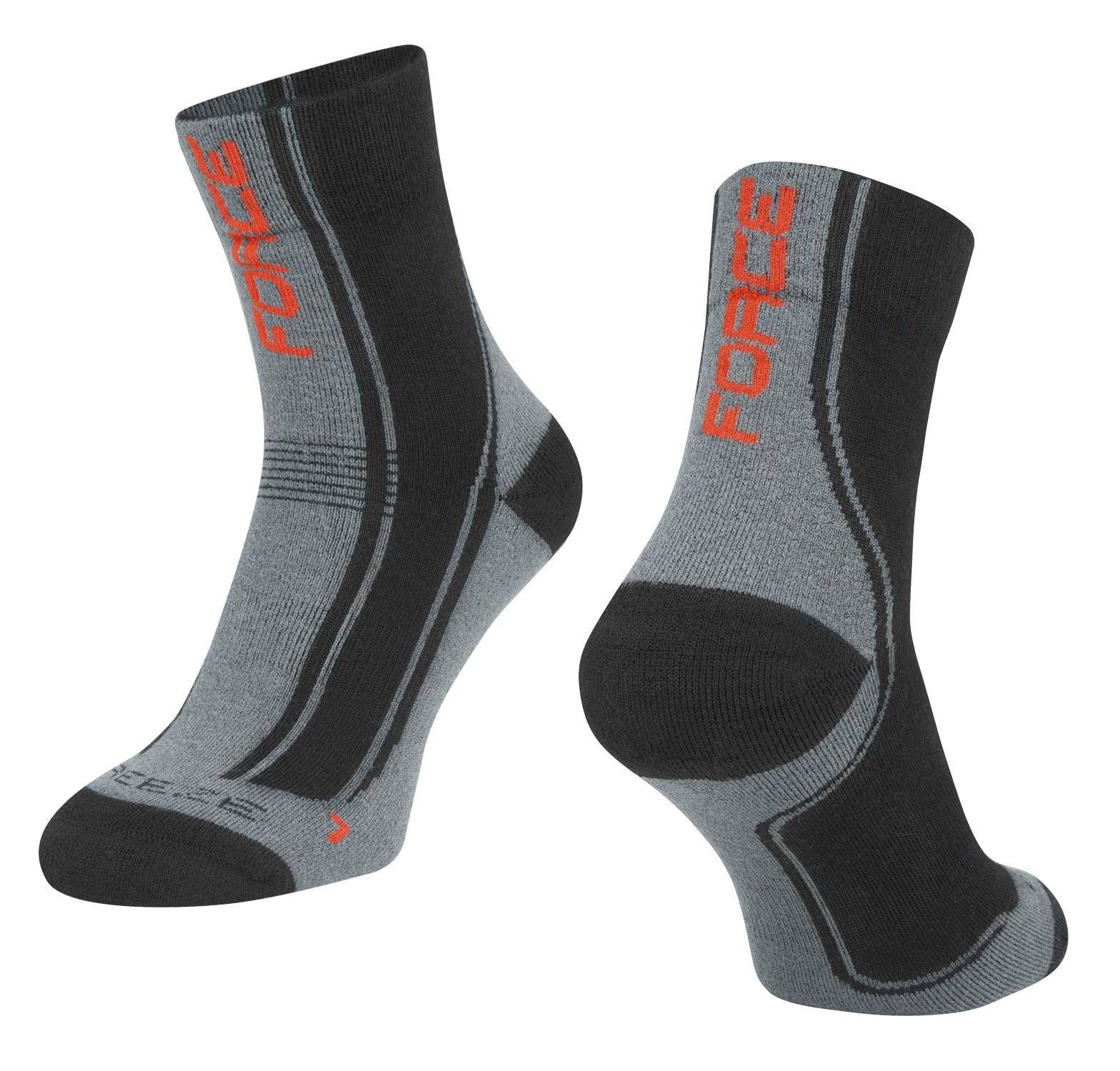 ponožky FORCE FREEZE, černo-šedo-červené, L-XL