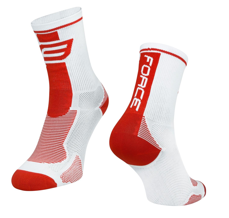 ponožky FORCE LONG, bílo-červené L-XL
