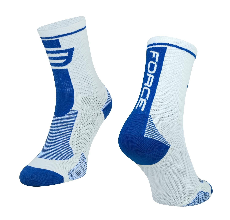 ponožky FORCE LONG, bílo-modré L - XL