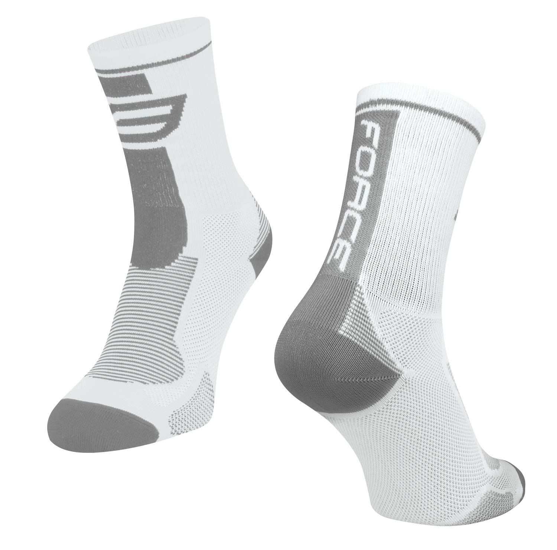 ponožky FORCE LONG, bílo-šedé L-XL