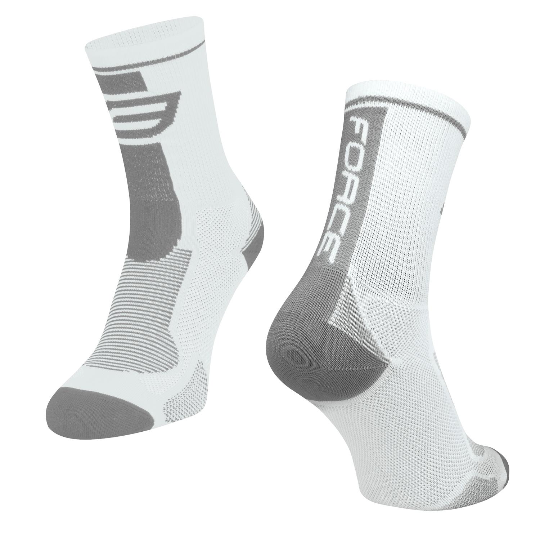 ponožky FORCE LONG, bílo-šedé XS