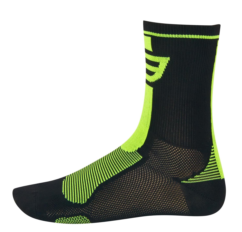 ponožky FORCE LONG, černo-fluo L - XL