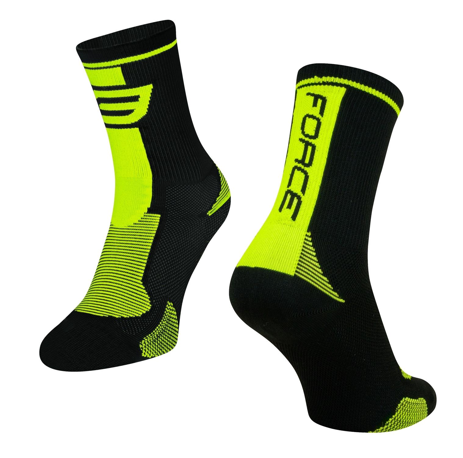ponožky FORCE LONG, černo-fluo XS