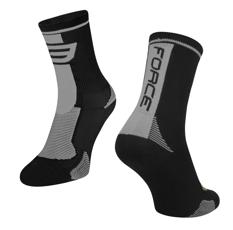 ponožky FORCE LONG, černo-šedé L - XL