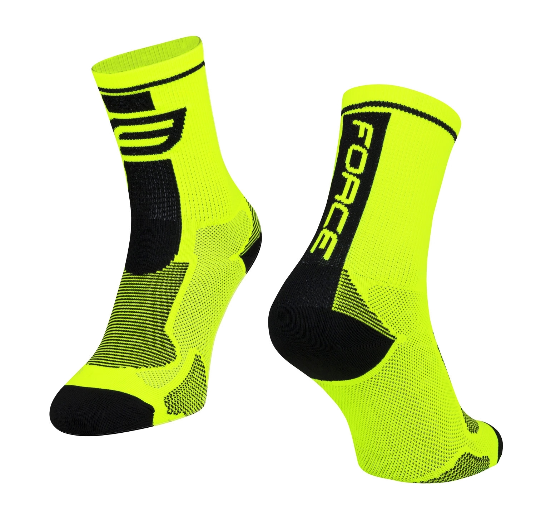 ponožky FORCE LONG, fluo-černé L - XL