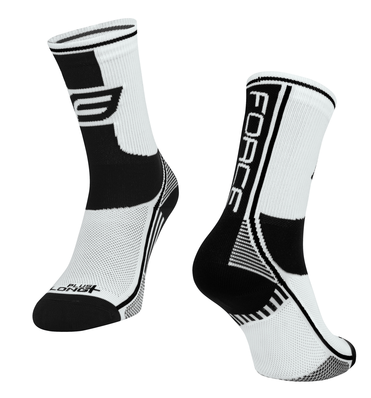 ponožky FORCE LONG PLUS, bílo-černé L-XL