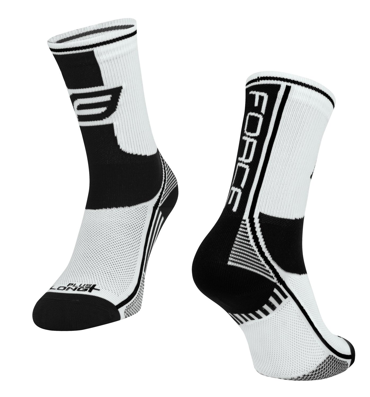 ponožky FORCE LONG PLUS, bílo-černé S-M