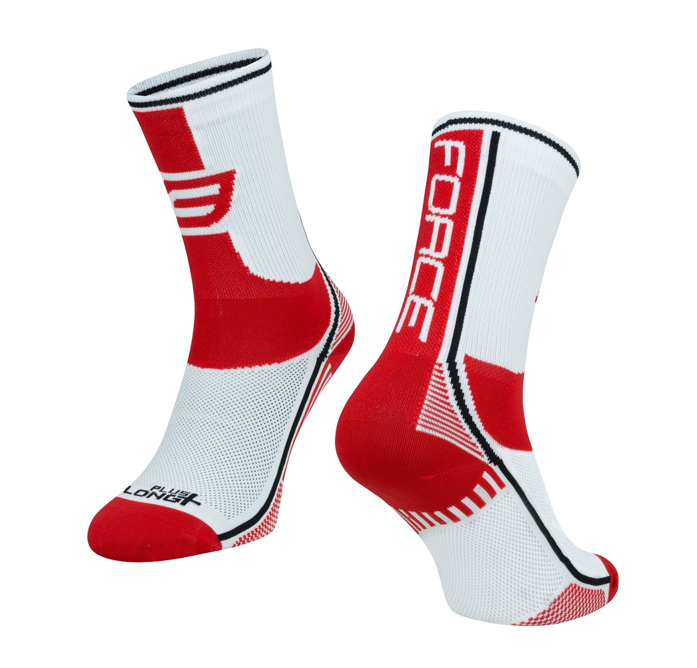 ponožky FORCE LONG PLUS, červeno-černo-bílé  S-M