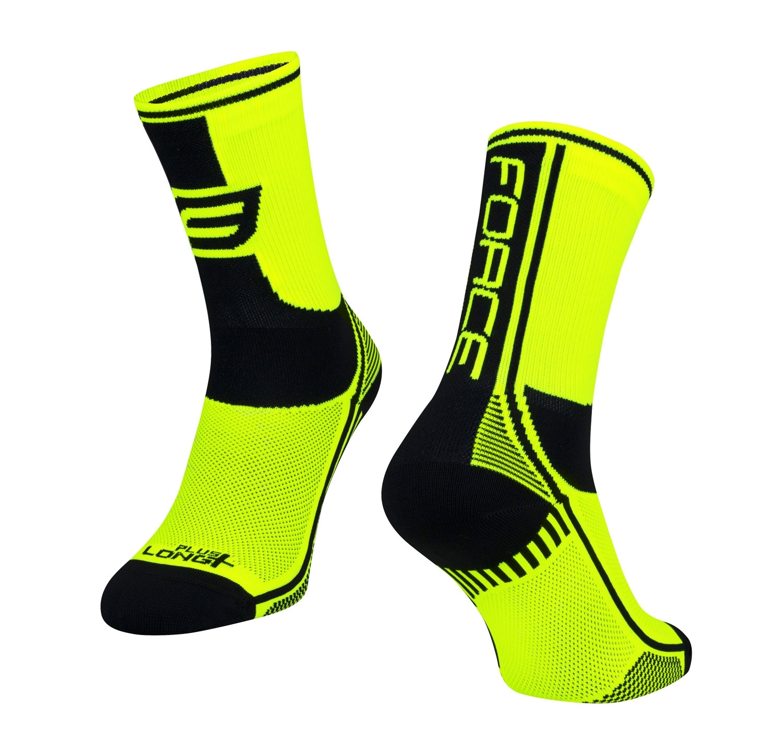 ponožky FORCE LONG PLUS, fluo-černé XXL