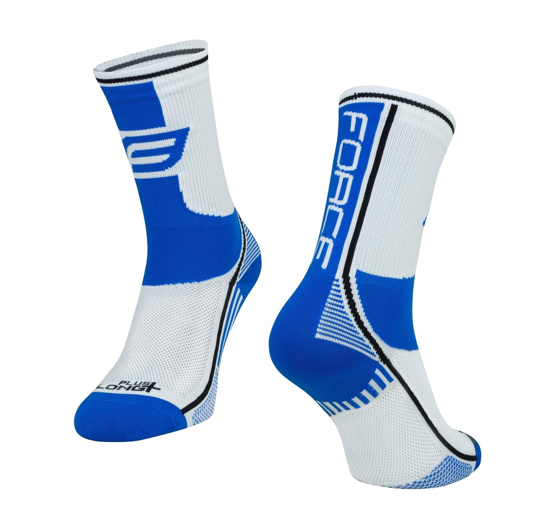ponožky FORCE LONG PLUS, modro-černo-bílé   L-XL