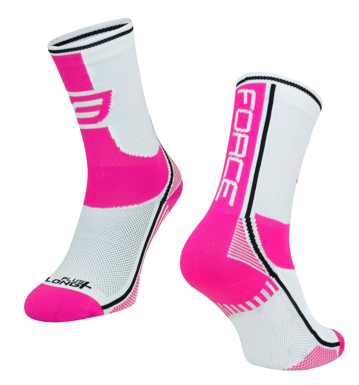 ponožky FORCE LONG PLUS, růžovo-černo-bílé L-XL