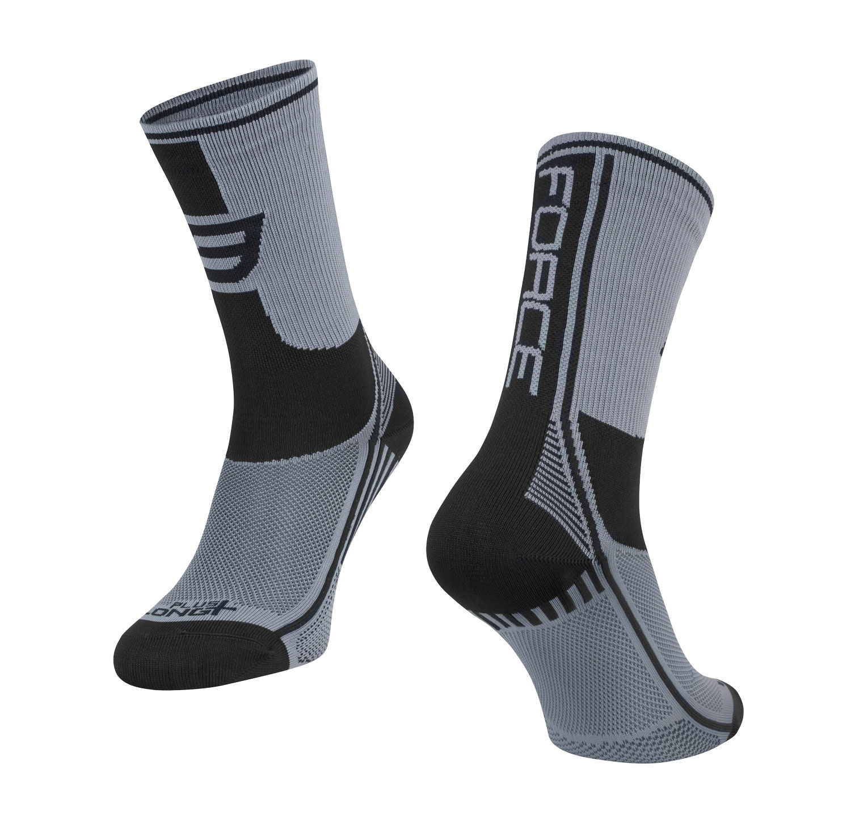ponožky FORCE LONG PLUS, šedo-černé   L-XL