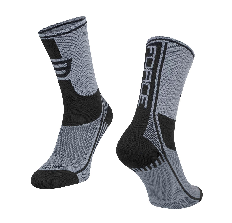 ponožky FORCE LONG PLUS, šedo-černé XXL