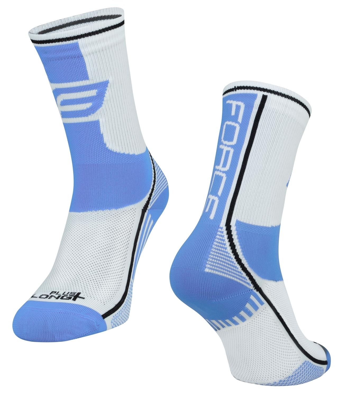 ponožky FORCE LONG PLUS, světlemodro-bílé L-XL