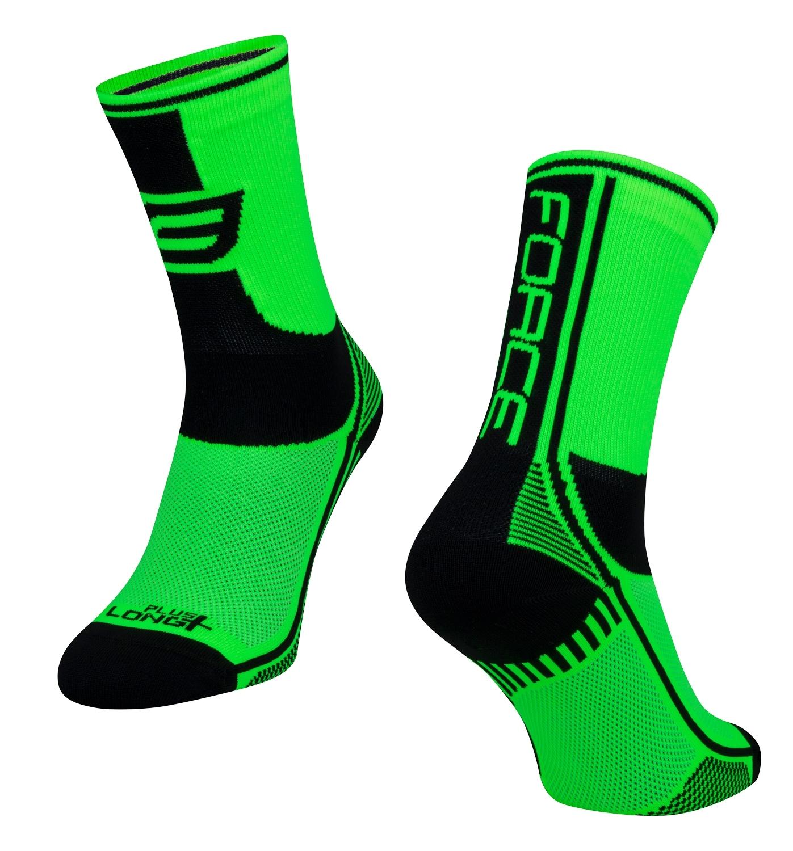 ponožky FORCE LONG PLUS, zeleno-černo-bílé S-M