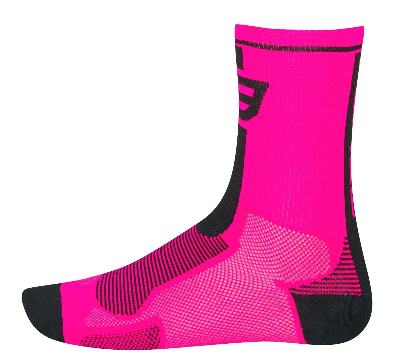 ponožky FORCE LONG, růžovo-černé L - XL