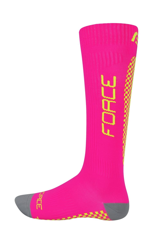 ponožky FORCE TESSERA KOMPRESNÍ, růžová-fluo S-M